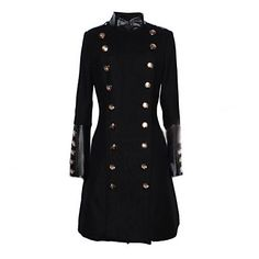 Womens Double-breasted Faux Leather Splicing Tweed Long Coat
