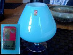 "Blomglas Ryds glasbruk. Blue vase in opaline glass from Ryds glasbruk. Cased with white inside.  Label: R Oplaine Suedoise  Height: 17 cm (6.7"")"