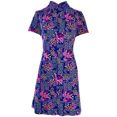 Chic 1960s Colorful Daisy Flower Print Vintage 60s Mod Mini Shirt Shift Dress | From a collection of rare vintage shift-dresses at https://www.1stdibs.com/fashion/clothing/day-dresses/shift-dresses/