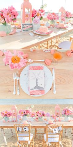 This color palette is so amazing, peach and pink wedding, beach wedding