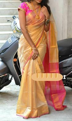 Cream with pink uppada tissue silk sarees Half Saree Designs, Pattu Saree Blouse Designs, Saree Blouse Patterns, Designer Blouse Patterns, Henna Designs, Dress Patterns, Nail Designs, Indian Silk Sarees, Indian Beauty Saree