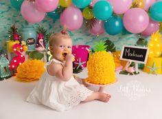 Pineapple and flamingo first birthday cake smash. Birthday Cake Smash, First Birthday Cakes, 1st Birthday Parties, Birthday Ideas, Thema Hawaii, Newborn Photography, Photography Ideas, Cake Smash Pictures, Pineapple Cake