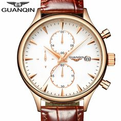 71.65$  Buy here - http://aliy6o.worldwells.pw/go.php?t=32786885692 - GUANQIN Mens Watches Top Brand Luxury Fashion Chronograph Date Quartz Watch Men Sport Leather Strap Wristwatch Relogio Masculino