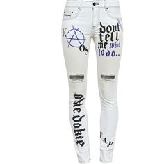 Filles A Papa Graffiti Print Distressed Jeans (1.030 DKK) ❤ liked on Polyvore featuring jeans, pants, bottoms, pantaloni, destroyed skinny jeans, white ripped jeans, ripped jeans, distressed denim jeans and ripped denim jeans