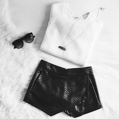 ::♤::black sunglasses, black leather skirt, white sweater, and black crystal necklace::♤::