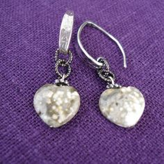 23littlewishes-Ocean Jasper Heart Earrings-Sterling Silver Hammered/Textured Ear Wires With Ocean Jasper Stone Heart Dangles by 23littlewishes on Etsy