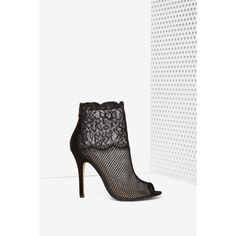 Jeopardy Lace Bootie found on Polyvore featuring polyvore, fashion, shoes, boots, ankle booties, blk, high heel booties, high heels stilettos, peep toe bootie and black peep toe booties