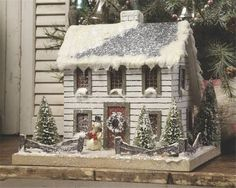 putz houses | Details about White Colonial Lighted Christmas Mica Glitter Putz…