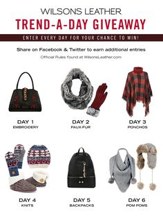Wilsons Leather is giving a different trend each day thru 10/22/17. Enter daily to win! After you enter, share to receive bonus entries. #win #fall #autumn #giveaway #fashion #trend