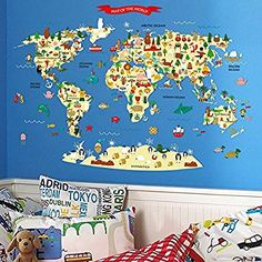 Home Evolution Large Kids Educational Animal/Famous Building World Map Peel & Stick Wall Decals Stickers Home Decor Art (Red)