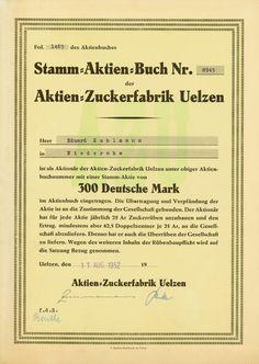 HWPH AG - Historische Wertpapiere - Aktien-Zucker-Fabrik Uelzen [Multiauktion 2] / Uelzen, 11.08.1952, Namensaktie über 300 DM