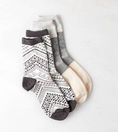 Charcoal AEO Printed Mid-Crew Sock 2-Pack