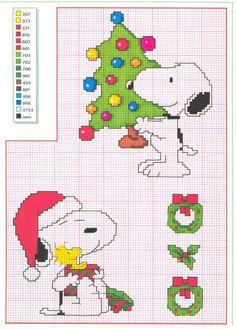 Patron Noël point de croix Snoopy