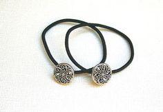 2 Vintage Silver Metal Swirl Mandala Design Button Embellished Black Elastic Hair Ties #vintagebutton #hairaccessories #tieituptop