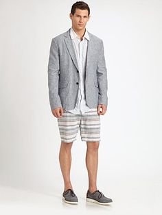 Whether your at the beach or a great restaurant -- this outfit works! Rag & Bone - Striped Beach Shorts - Saks.com #SaksLLTrip