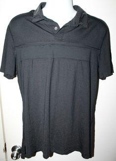 Lululemon Size Large Men's Polo Golf Shirt Black Very Lightweight