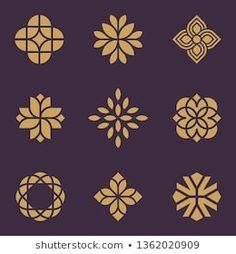 Art Deco Logo, Art Deco Design, Icon Design, Logo Fleur, Flower Graphic Design, Geometric Logo, Geometric Flower, Design Vector, Flower Logo