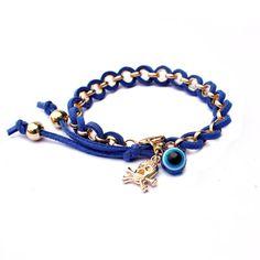 Handmade leaher weave evil eye pendant fashion leather bracelet 2013 woman man bracelet friendship free shippin . $6.54