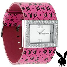 Playboy Watch Bunny Pink Leather Band Swarovski Crystals Stainless Steel Back by Playboy Jewelry at Karen's Treasures on Opensky