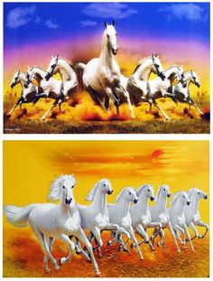 Graceful White Horses - Set of 2 Unframed Posters (Reprint on Paper - Unframed) Horse Posters, Animal Posters, Horse Artwork, Horse Photos, White Horses, Sculptures, Plant, Birds, Paper