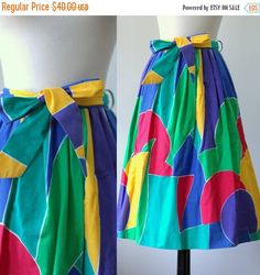 1980s Geometric Print Skirt $32 by SassySisterVintage