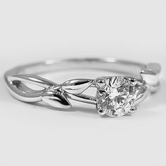 18K White Gold Budding Willow Ring // Set with a 0.46 Carat, Round, Ideal Cut, F Color, VVS2 Clarity Lab Diamond #BrilliantEarth