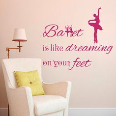 Wall Decal Quote Vinyl Sticker Decal Art Home Decor Mural Decals Quotes Ballet Is Like Dreaming on Your Feet Dancing Dancer Ballerina MS1