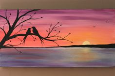 Original Abstract Acrylic Painting on Canvas Beneath the Twilight Two Love Birds Tree Branch Lake Sunset Coral Purple Blue Water Summer Eve