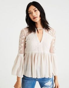 """AE Embroidered Mesh Bell-Sleeve Top by  American Eagle Outfitters 