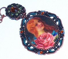 Hand Paint Retro Pendant Necklace Boho by GoddessArtCollection