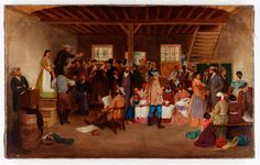 Slave Auction, Virginia, by LeFevre Cranstone, c. 1860s | Virginia ... www.vahistorical.org1024 × 652Buscar por imagen ... an English artist, created the painting Slave Auction, Virginia in 1862. Cranstone's rendering of the interior world of the auction house highlights the ...