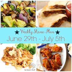 Weekly Menu Plan June 29th-July 5th