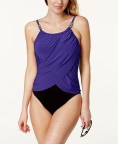 5c9a685aa2 Magicsuit Draped Tummy-Control One-Piece Swimsuit - Blue 10 Orange  Swimsuit, Women