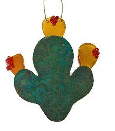 Copper Prickley Pear Cactus Ornament