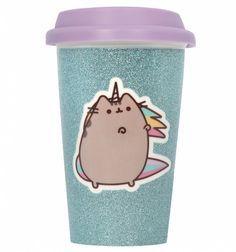 Pusheen The Cat Glitter Ceramic Travel Mug Aqua - Licenced Pusheen Love, Pusheen Cat, Pink Bedrooms, Unicorn Cat, Christmas Gifts For Girls, Mugs For Sale, Toys Online, Fantasy Creatures, Aqua