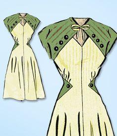 1940s Vintage Mail Order Sewing Pattern 8730 Uncut Misses Keyhole Dress Sz 30 B #MailOrder #DressPattern