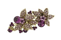 Flower Brooches Rhinestones and Cubic Zirconia Elements adorn the petals of the flower and Antique Gold metal base. Gorgeous amethyst, light amethyst, and light amethyst AB crystal.
