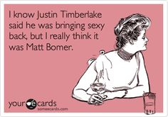 I know Justin Timberlake said he was bringing sexy back, but I really think it was Matt Bomer. (created by me)