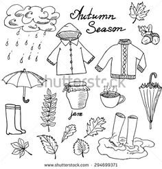Autumn season set doodles elements. Hand drawn set with umbrella cup of hot tea, rain, rubber boots, clothes and leaves collection. Drawing doodle collection, isolated on white background