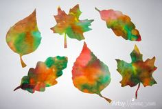 Simple and pretty fall leaf crafts for kids. Make leaf-shaped suncatchers using coffee filters and make sponge painted leaves!