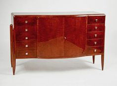 French Art Deco: A Jules LELEU chest of drawers, made of walnut burr. Made in France. Circa: 1922