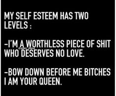 Rebel Circus: My self esteem has two levels: - I'm a worthless piece of shit who deserves no love. - Bow down before me bitches, I am your queen!