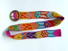 Belt hand embroidery, belts with flowers, belt with leaves, floral belts, belts peruvian, colorful belts. $45.00, via Etsy.