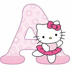 Alphabet with Pink Flowers and Hello Kitty. Hello Kitty Theme Party, Hello Kitty Themes, Hello Kitty Birthday, Cat Birthday, Hallo Kitty, Hello Kitty Art, Hello Kitty Crafts, Melody Hello Kitty, Sanrio Hello Kitty