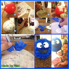 "My mini tutorial on a cookie monster birthday piñata  1⃣Get the size of ballon you want the piñata to be 2⃣cut newspaper into 2 inch long stands (apox.12"") 3⃣mix all purpose flour and water to a pancake mix consistency ... dip a strand of newspaper and remove excess ( you can also dilute Elmer's glue w/ water 4⃣place over balloon in diagonal directions  until the whole balloon is completely covered with at least 2-3 layers of newspaper (the thicker, the harder to crack do not cover balloon…"