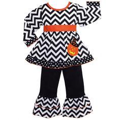 AnnLoren Girls' Halloween Chevron Pumpkin Outfit | Overstock.com Shopping - The Best Deals on Girls' Sets