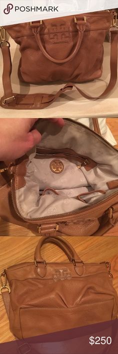 Authentic Tory Burch stacked T satchel - tan Near perfect condition bag!! Re-poshing because I don't really use this beautiful bag enough. No stains or imperfections on the leather or inside lining. Open to reasonable, respectful offers. Tory Burch Bags Satchels