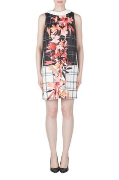 Joseph Ribkoff Black Pink Floral Ruffled Short Sleeve Sheath Dress 183607 NEW