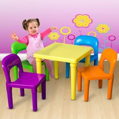 Childrens Table And Chairs Kids 5 Piece Set Playroom Daycare School Equipment #Oxgord