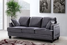 Sleek yet traditional, the stylish look of the Meridian Furniture Inc Ferrara Sofa provides a welcome design element to your well-appointed living room. Fabric Sofa, Nailhead Sofa, Contemporary Sofa, Grey Velvet Sofa, Sofa Decor, Love Seat, Furniture, Meridian Furniture, Usa Furniture